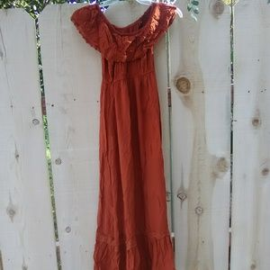 Beautiful rust lace trim peasant off shoulder maxi